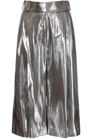 ALEXANDRE VAUTHIER Women Wide Leg Trousers - Lamé Cropped Wide Leg Pants