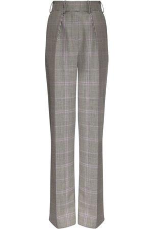 ALEXANDRE VAUTHIER Women Formal Trousers - Check Wool & Mohair Straight Leg Pants