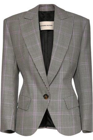 ALEXANDRE VAUTHIER Women Coats - Wool & Mohair Check Oversized Jacket