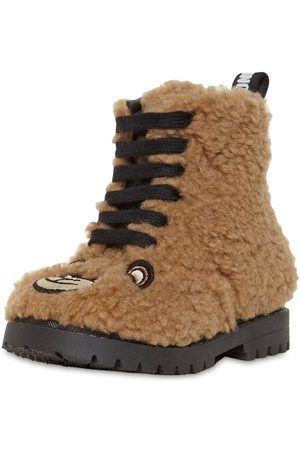 Moschino Embroidered Bear Patch Teddy Boots