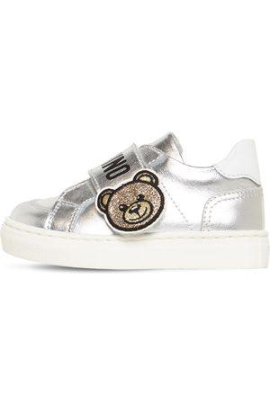 Moschino Bear Metallic Strap Leather Sneakers