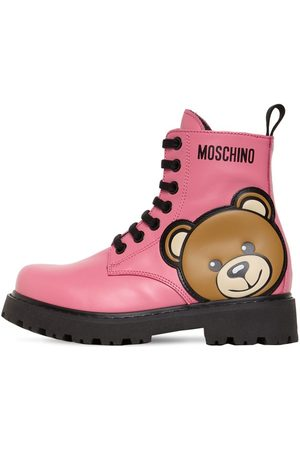 Moschino Teddy Bear Patch Leather Boots