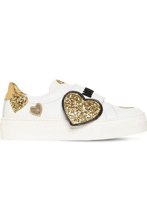 Moschino Glittered Hearts Strap Leather Sneakers