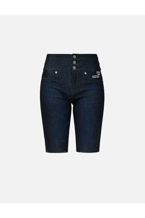 Evisu Kamon Embroidered Bermuda Denim Shorts
