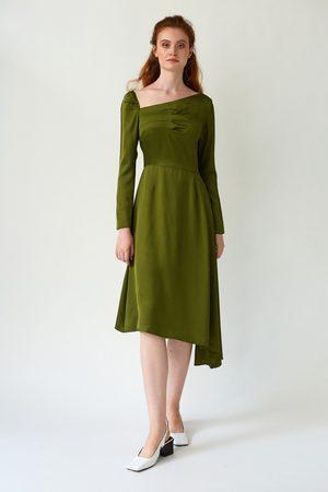 DALB FLUTTER Asymmetric Pesto Dress with Front Pleats