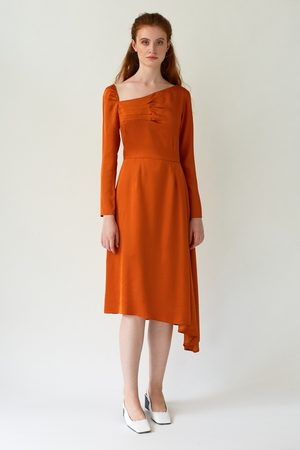 DALB FLUTTER Asymmetric Dress with Front Pleats
