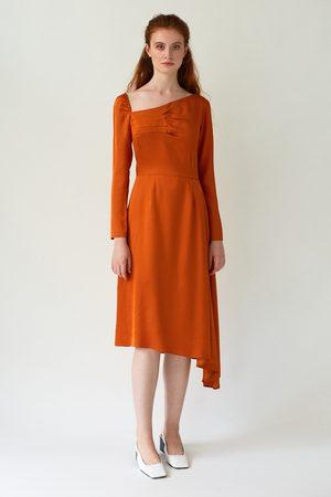 DALB Women Asymmetrical Dresses - FLUTTER Asymmetric Orange Dress with Front Pleats