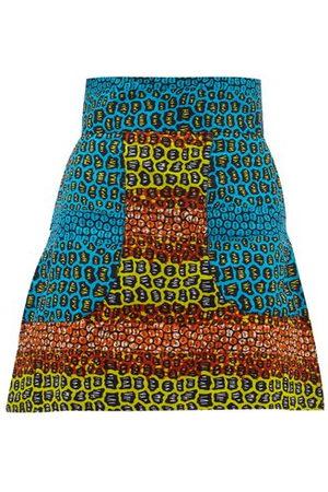 Lisa Folawiyo Women Mini Skirts - Pebble Ankara-print Cotton Mini Skirt - Womens - Multi