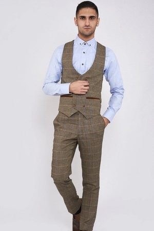 Marc Darcy Ted Tan Tweed Double Breasted Waistcoat Mens 34