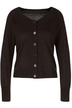 Marc Cain FINE KNIT CARDIGAN IN PURE NEW WOOL, SILK & CASHMERE