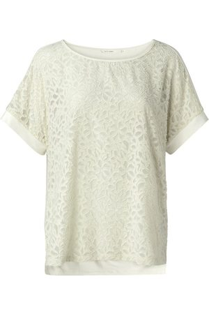 YAYA Fabric mix top with round neck bleached sand