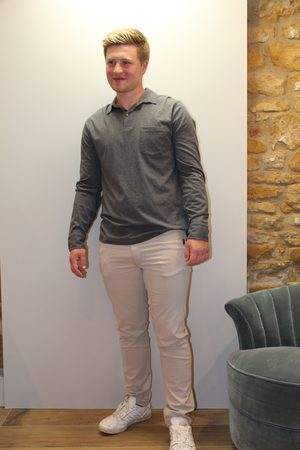 Sand Burton Suede Touch Trousers in Stone