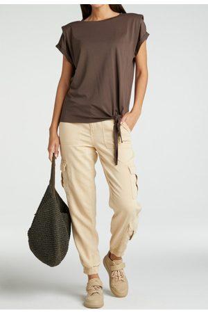 YAYA Lyocell blend cargo trousers with elastic cuffs wheat