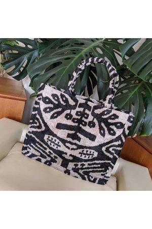 Yunion T & Natural Large Silk Velvet Ikat Tote