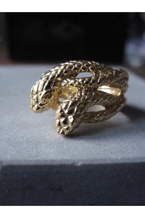 WINDOW DRESSING THE SOUL Gold Plated Double snake ring