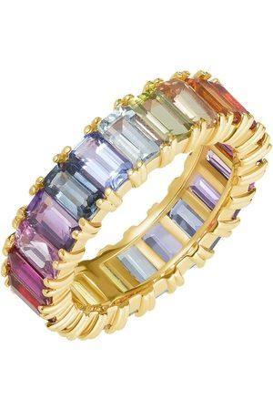 Carbon & Hyde Women Rings - Rainbow Emerald Eternity Band - Yellow