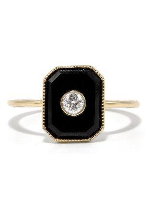 Ashley Zhang Onyx Diamond Bezel Ring