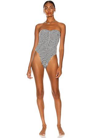 Norma Kamali Slinky Marissa Swimsuit in 1/4 Ivy & Stripe