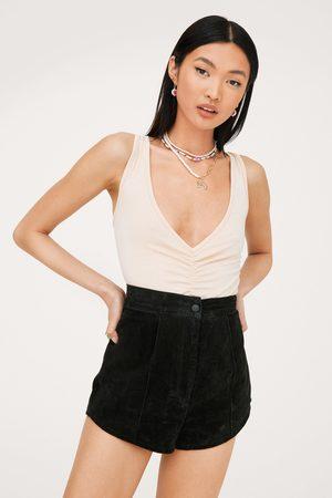 NASTY GAL Womens Ruched Plunging V Neck Sleeveless Bodysuit