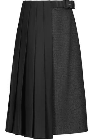 Prada Asymmetric pleated wool midi skirt