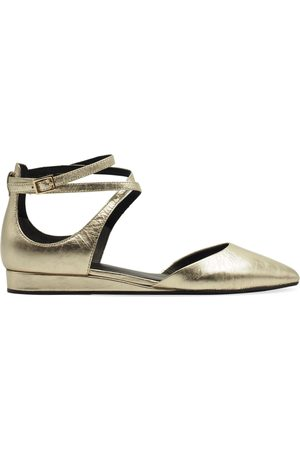 What For WOMEN'S ALLSWF046GOLD LEATHER FLATS