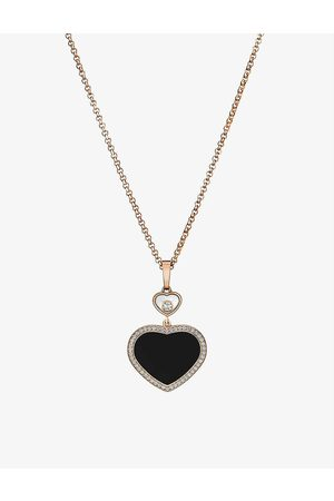 Chopard Happy Hearts 18ct rose- and 0.24ct diamond pendant necklace
