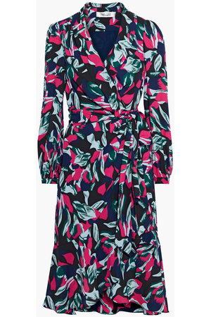 DIANE VON FURSTENBERG Woman Carla Two Floral-print Crepe Wrap Dress Navy Size L