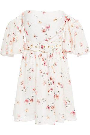 Studio Paloma Women Printed Dresses - Woman Hannah Ruffled Floral-print Linen Mini Dress Size L