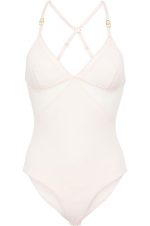 Stella McCartney Woman Open-back Point D'esprit And Stretch-jersey Bodysuit Pastel Size L