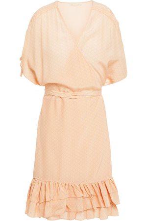 Studio Paloma Women Printed Dresses - Woman Delilah Ruffled Printed Crepe Mini Wrap Dress Baby Size L