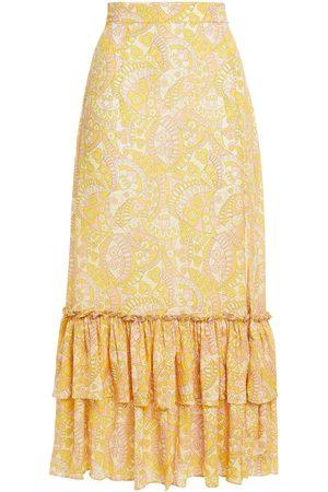 Studio Paloma Women Midi Skirts - Woman Romy Ruffled Printed Crepe De Chine Midi Skirt Size L