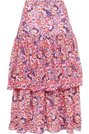 Studio Paloma Woman Brooke Gathered Floral-print Crepe De Chine Midi Skirt Size L