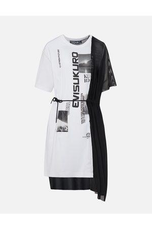 Evisu Mesh and Jersey Hybrid T-shirt Dress