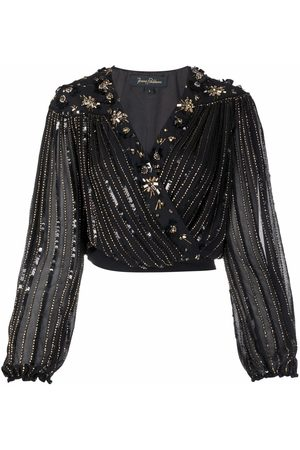 Jenny Packham Sequinned cropped blouse
