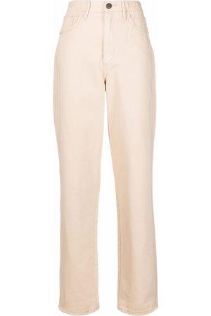 12 STOREEZ Women High Waisted - High-waisted straight jeans - Neutrals