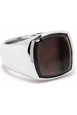 TOM WOOD Rings - Black mother-of-pearl cushion signet ring