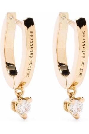 DELFINA DELETTREZ Women Earrings - 18kt yellow huggie hoop diamond drop earrings