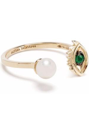 DELFINA DELETTREZ 9kt yellow Micro-Eye Piercing emerald and pearl ring