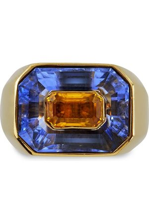 Pragnell 18kt yellow French blue and yellow sapphire ring