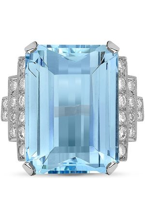Pragnell Platinum aquamarine and diamond cocktail ring