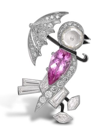 Pragnell 18kt white gold pink topaz and diamond bird brooch