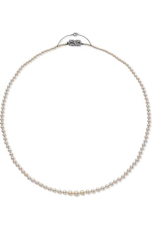 Pragnell Vintage 18kt white gold Art Deco saltwater pearl and diamond necklace