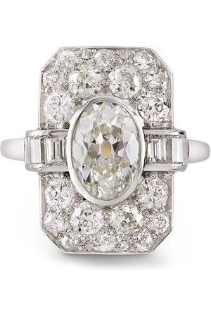 Pragnell Platinum Art Deco diamond plaque ring