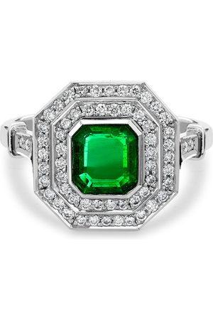 Pragnell Platinum emerald and diamond target ring