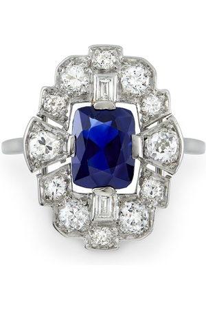 Pragnell Women Rings - Platinum Art Deco sapphire and diamond plaque ring