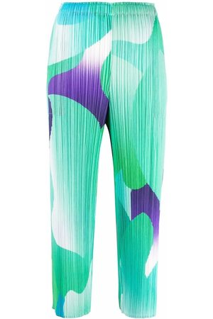 Pleats Please Issey Miyake Abstract-print pleat-detail cropped trousers