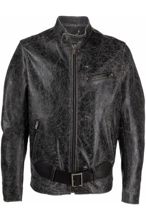 Golden Goose Distressed-effect leather belted jacket