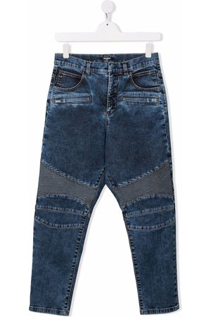 Balmain TEEN seamed panel biker jeans