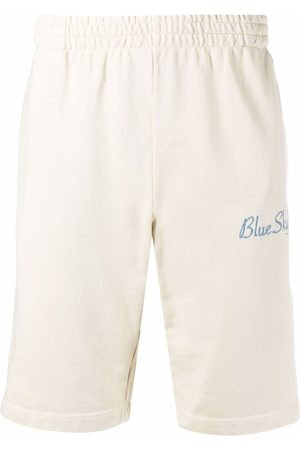 BLUE SKY INN Logo-embroidered cotton shorts - Neutrals