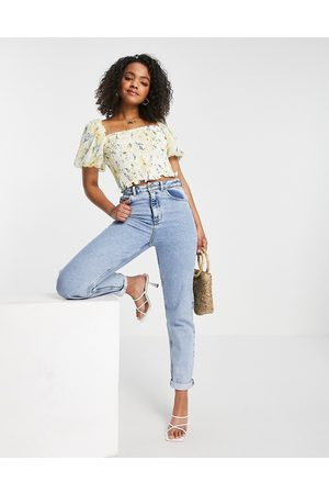 Forever New Shirred puff sleeve crop top co-ord in floral